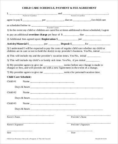 Child Care Payment Agreement Form In PDF