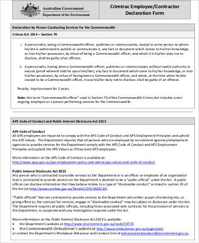 employee contractor declaration form