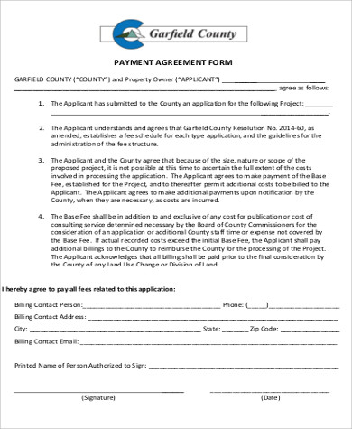 free printable payment agreement form sample