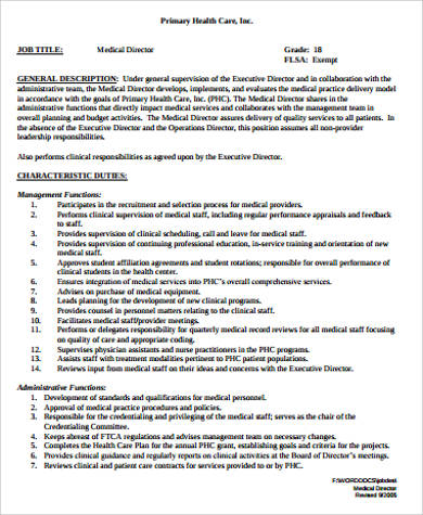 Medical Job Description Sample   Examples In Word Pdf