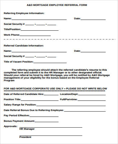 Captivating Mortgage Employee Referral Form