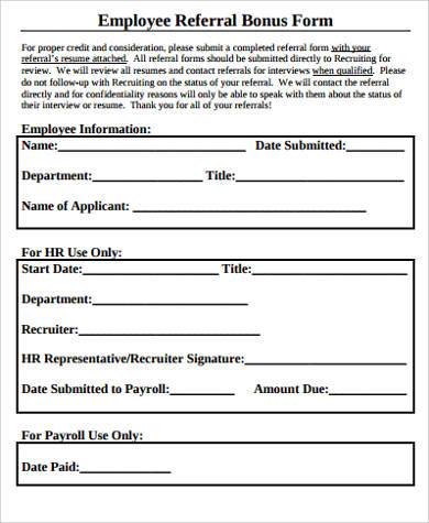 sample employee referral bonus form