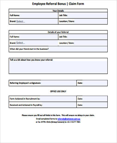 Sample Employee Referral Form   Examples In Word Pdf