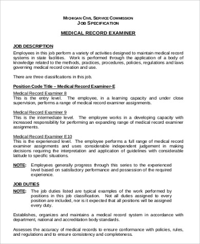 Medical Records Examiner Job Description