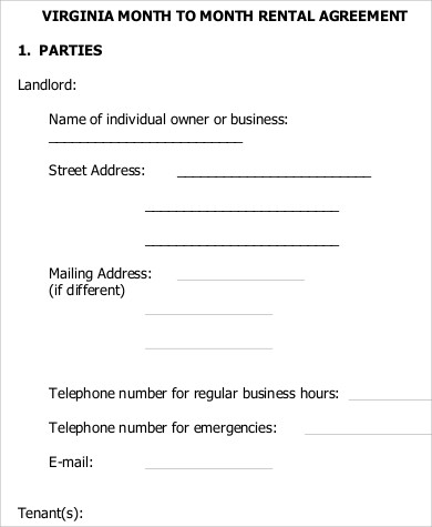 Sample Month To Month Rental Agreement Form   Examples In Word Pdf