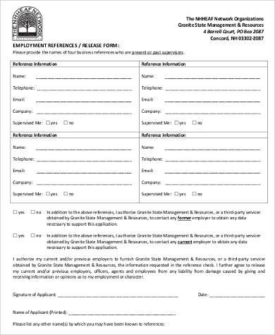 standard employee release form