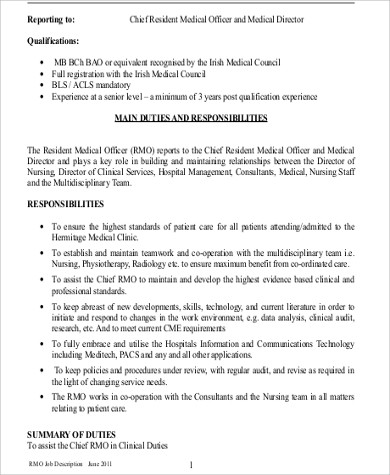 Medical Officer Job Description Sample   Examples In Word Pdf