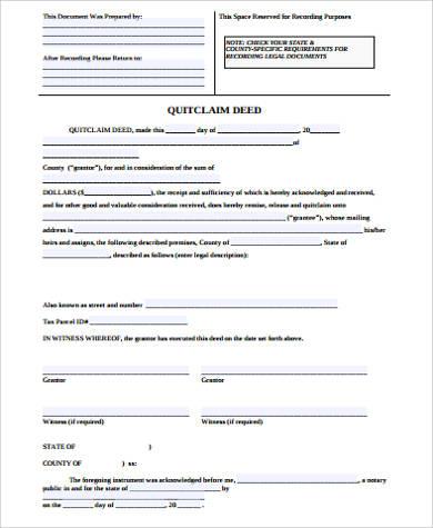 generic quit claim deed