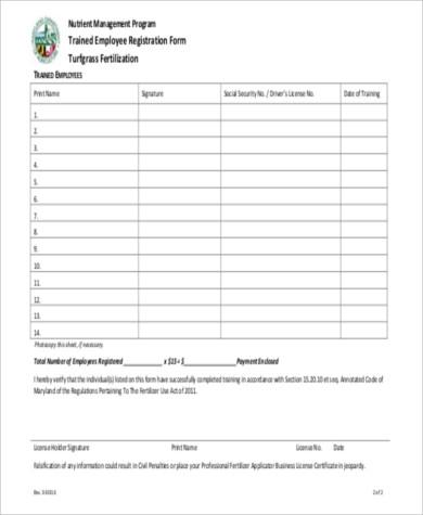 trained employee registration form pdf