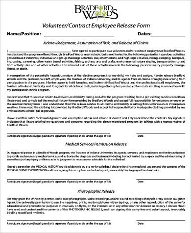 contract employee release form