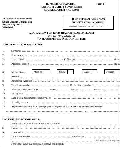 Sample Employee Registration Form   Examples In Word Pdf