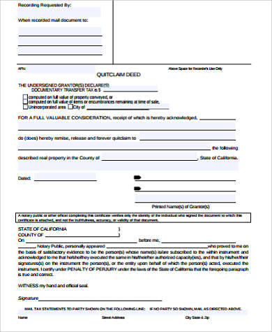 blank quit claim deed example