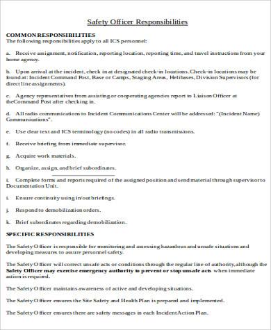 medical safety officer job description