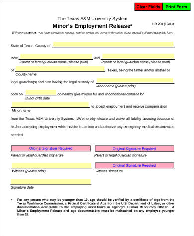 minor employee release form