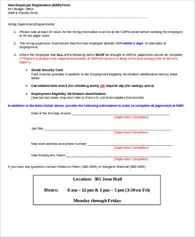 sample new employee registration form
