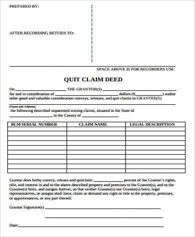 sample quit claim deed