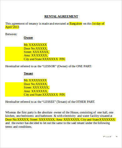 8+ Generic Rental Agreement Sample - Free Sample, Example, Format