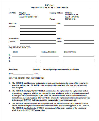 sample agreementssimple equipment rental agreement in pdf - Simple Equipment Rental Agreement Template Free
