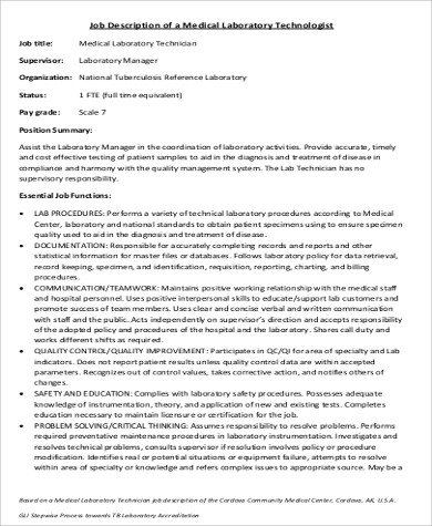 Medical Technologist Job Description Sample   Examples In Word Pdf