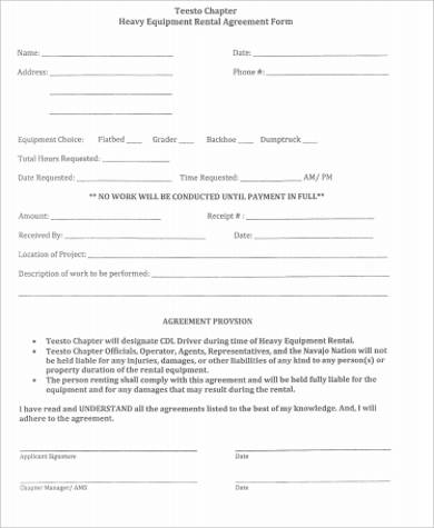 Heavy Equipment Rental Agreement Form Sample