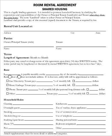 generic room rental agreement sample
