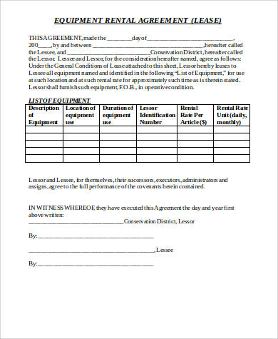 Generic Rental Agreement Sample  Free Sample Example Format