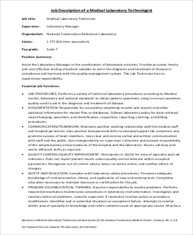 Medical Technologist Job Description Sample - 6+ Examples In Word, Pdf