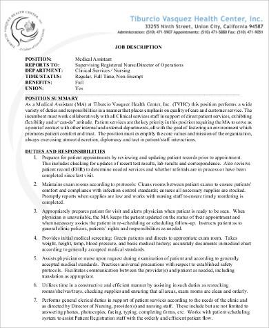 medical assistant technologist job description