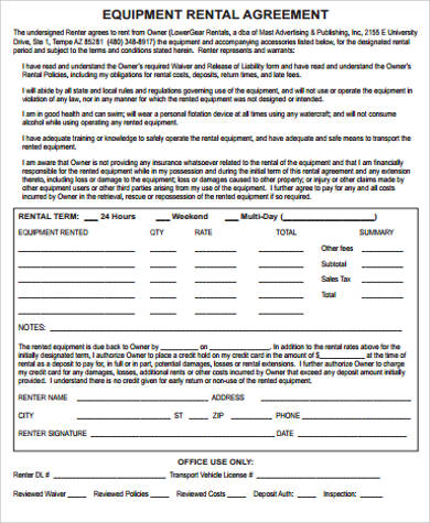 equipment rental agreement pdf