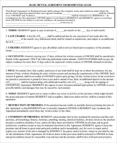 basic rental agreement fillable sample