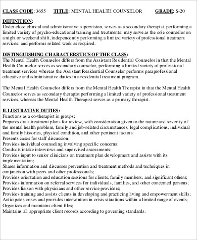 Mental Health Counselor Job Description Sample   Examples In Word