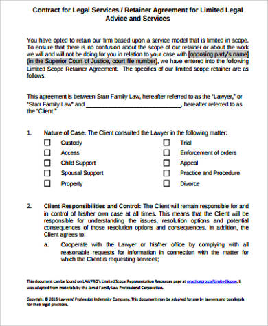 legal retainer agreement sample