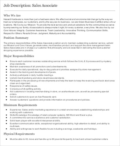sample retail store associate job description