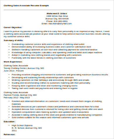 clothing store associate job description pdf