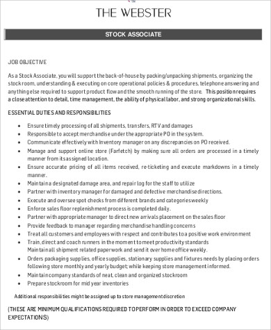 store stock associate job description format