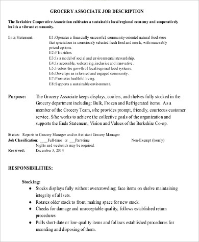 Store Associate Job Description Sample   Examples In Word Pdf