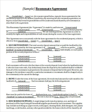 simple roommate lease agreement form