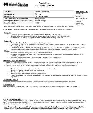 Job Description Of Sales Associate  Template
