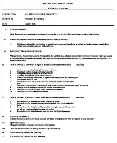 medical unit secretary job description