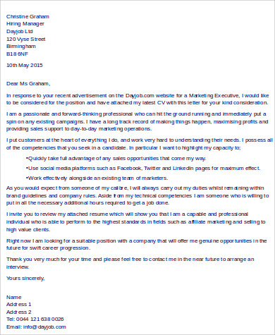 10 sample executive cover letters sample templates for Cover letter for marketing executive fresher