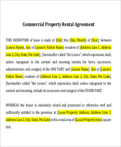 basic commercial property lease agreement sample