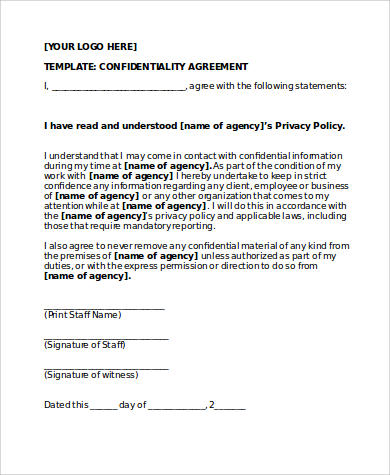 simple confidentiality agreement form