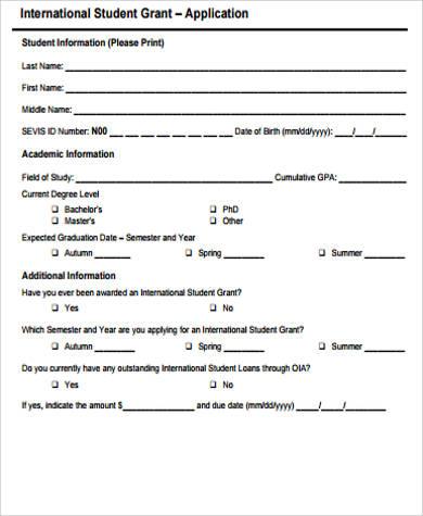 student grant application pdf