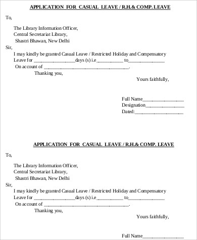 Sample Leave Application   Examples In Word Pdf
