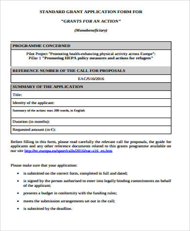 Sample Grant Application   Examples In Word Pdf