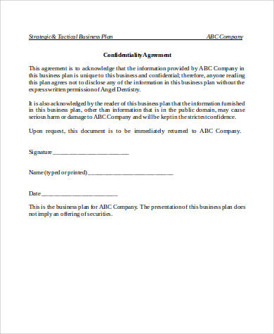 sample business confidentiality agreement