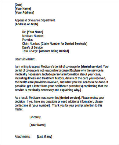 Sample Appeal Letter   Examples In Word Pdf