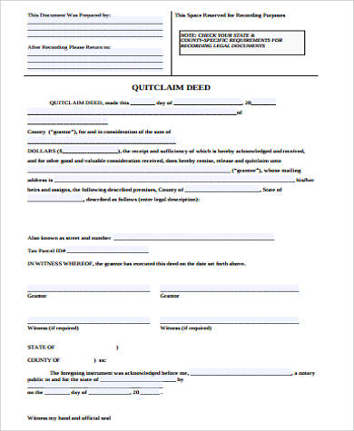 generic quick deed form