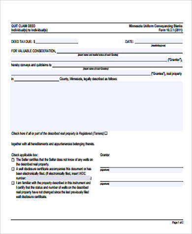 individual quick deed form free