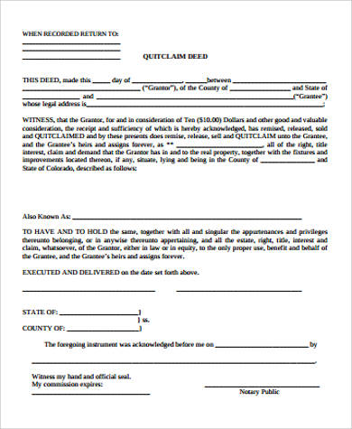 Sample Quitclaim Deed Form Printable New Property Or New Tenant